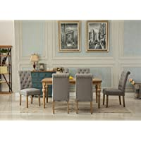 Roundhill Furniture T161-C161GY-C161GY-C161GY Habitanian Dining Collection Solid Wood Table with 6 Button Tufted Chairs, Gray