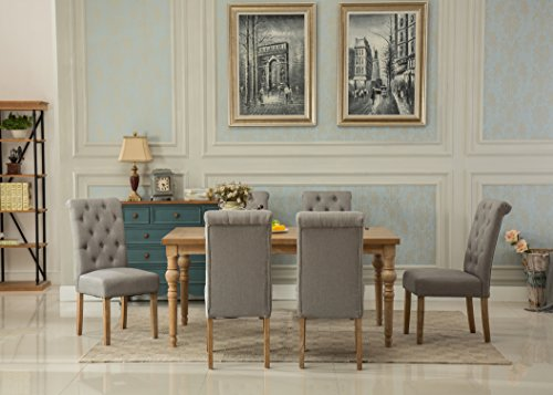 Roundhill Furniture T161-C161GY-C161GY-C161GY Collection Habitanian Solid Wood Dining Table with 6 Button Tufted Chairs, Gray