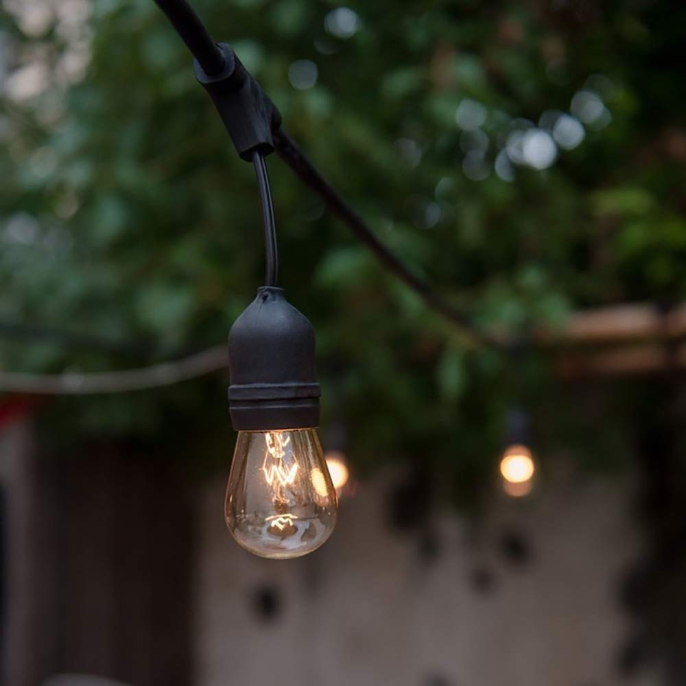 KMC 50 FT Waterproof Outdoor String Lights, 16/3 Heavy Duty Power Cord with 15 x E26 Sockets and Hanging Loops, 18 x 11 Watt S14 Dimmable Incandescent Bulbs Included (3 Spares), Perfect Patio Lights by KMC (Image #5)