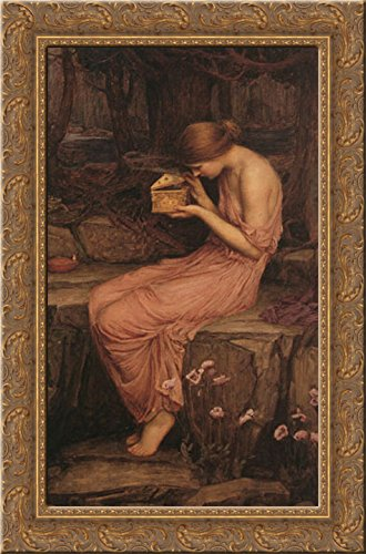 (Psyche Opening the Golden Box 18x24 Gold Ornate Wood Framed Canvas Art by Waterhouse, John William)