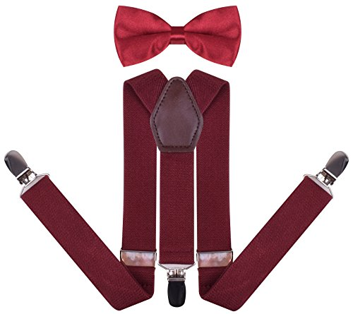 Red Leather Set - YJDS Boys' Leather Suspenders and Pre Tied Bowtie Set Wine 26 Inches