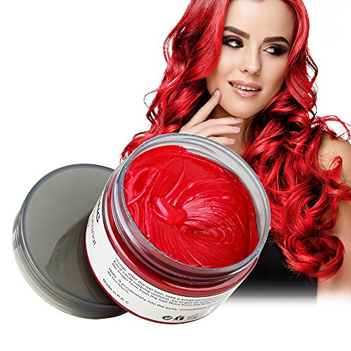 MOFAJANG Hair Color Wax, Instant Hair Wax, Temporary Hairstyle Cream 4.23 oz, Hair Pomades, Natural Hairstyle Wax for Men and Women (Red)