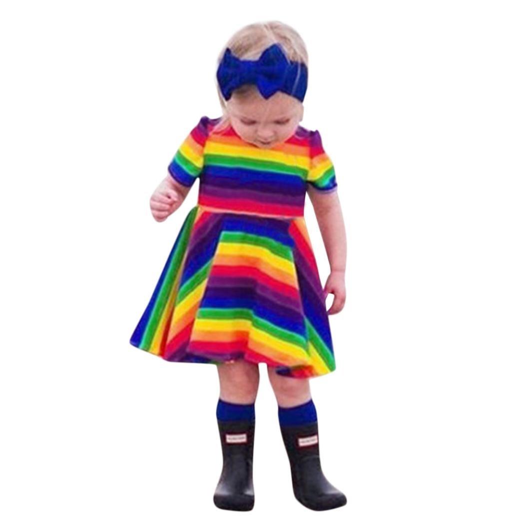 ღ 2018 UOMOGO Royal Arcobaleno Vestito Cotone Manica Corta Floreale Abito Principessa Casual Vestiti Bambina 1-4 anni, 80-120 Cm