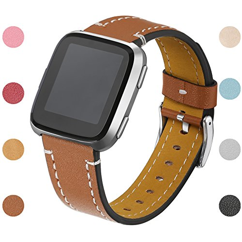 bayite For Fitbit Versa Bands, Classic Genuine Leather Wristband Replacement Accessories Fitness Strap for Versa Women Men, Brown