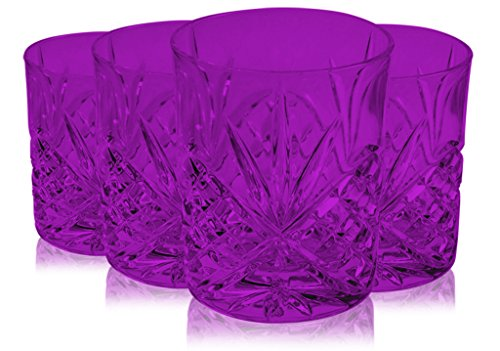- Pink Godinger Dublin Double Old Fashioned Glasses 8 oz. -set of - Additional Vibrant Colors Available by TableTop