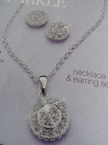 Avon Pave Circle Necklace and Earring Gift Set