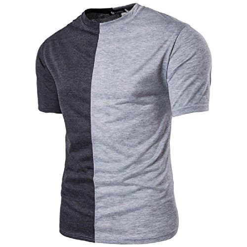 Coolred Men's Plus Size Short Sleeve Crew Neck Pullover T-shirt Tops Lightgrey Large - Crew Neck Pullover