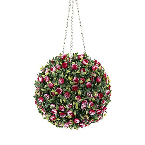 ROY Gradient Red Grass, 11inch Topiary Ball-Artificial Flowers Ball with Chain (Type 1)