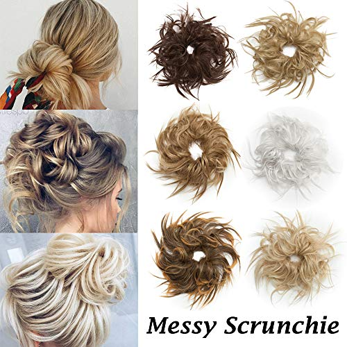 Fluffy Tousled Scrunchie Hair Bun With Elastic Rubber Band Premium Wrap On Hair Extensions Updo Chignon Donut Messy Ponytail Hairpiece Synthetic Wavy For Women 27T613