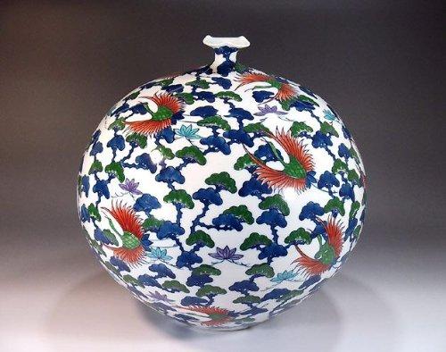 有田焼伊万里焼|花瓶陶器花器壺|贈答品|高級ギフト|記念品|贈り物|色鍋島松鶴藤井錦彩 B00HRJ4HL0