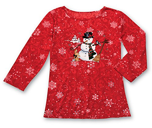 (Women's Winter Snow Days Snowman Sequin Top, Red, Large)