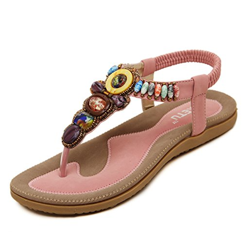 Beads Coin Pink Women's Bohemian Summer PADGENE Sandals Strap Beach Flat T Slingback Thong Shoes Release New nfxqAHH