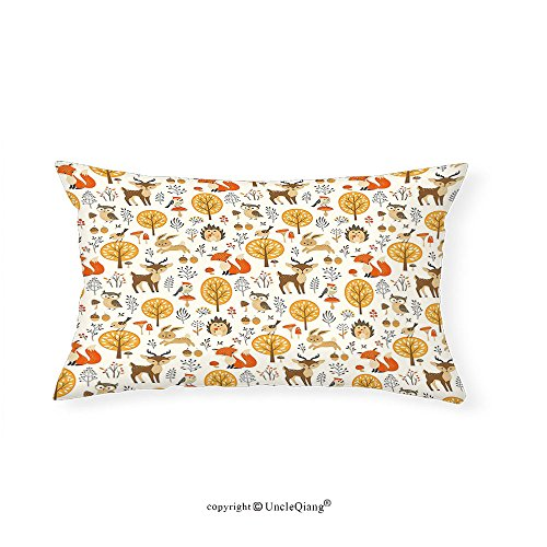 VROSELV Custom pillowcasesCartoon Kids Nursery Rooms Decoration Baby Owls Deers Birds Rabbits Flower Image for Bedroom Living Room Dorm Marigold Cream Orange(14''x24'') by VROSELV
