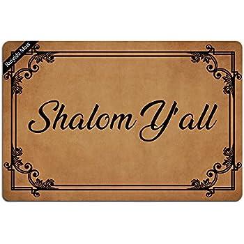 Ruiyida Shalom Y'All Entrance Floor Mat Funny Doormat Door Mat Decorative Indoor Outdoor Doormat Non-woven 23.6 By 15.7 Inch Machine Washable Fabric Top