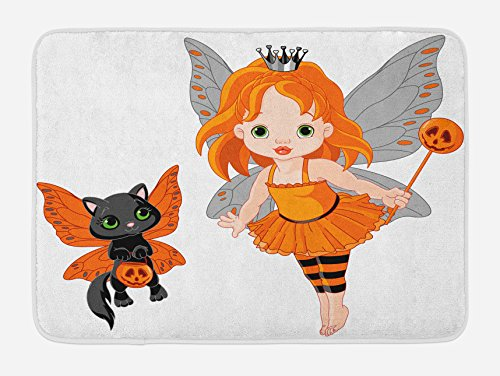 Lunarable Halloween Bath Mat, Halloween Baby Fairy and Her Cat in Costumes Trick Butterflies Girls Kids Design, Plush Bathroom Decor Mat with Non Slip Backing, 29.5