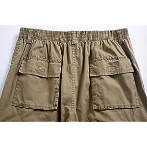 YangguTown YGT Men's Elastic Waist Cleaning Cargo Pants Lightweight Cotton Workwear-back pockets