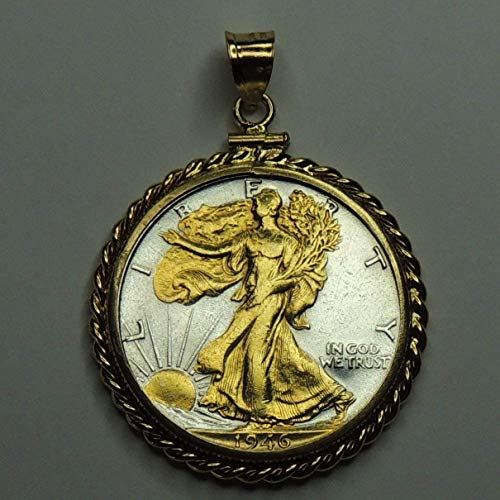 Old U.S. Walking Liberty half dollar, Gorgeously 2-Toned (Uniquely Hand done) Gold on Silver coin Pendants - Charms Necklaces for women men girls girlfriend boys jewelry making bracelets