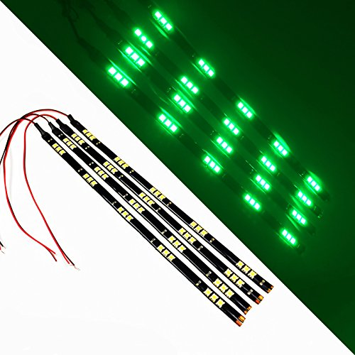 """SOCAL-LED Green 30cm 12"""" Flexible LED Strips High Power 5050 15 SMD Car DRL Under Dash Accent Light (Pack of 4)"""