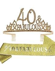 40th Birthday Gifts for women,40th Birthday Tiara and Sash Golden,40th Birthday Decorations Party Supplies,40&FABULOUS Satin Sash Crystal Tiara Birthday Crown for 40th Birthday Party Decor
