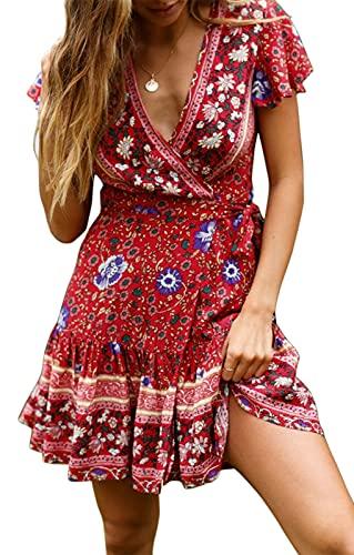 ZESICA Women's Summer Wrap V Neck Bohemian Floral Print Ruffle Swing A Line Beach Mini Dress Red