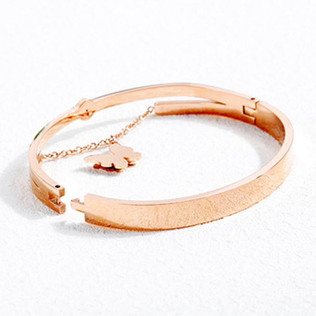 Wonlines Fashion Plated Rose Gold Stainless Steel Crystal Butterfly Cuff Bracelet