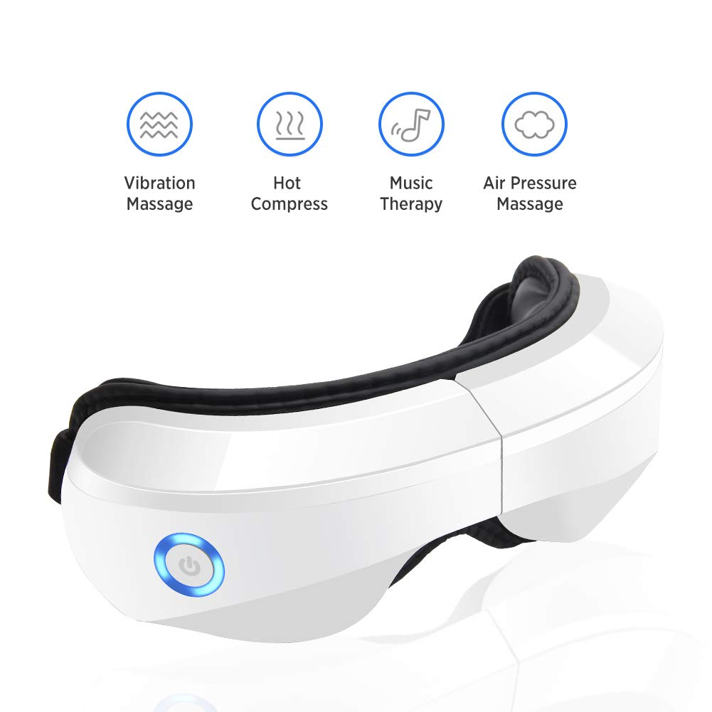 Electric Eye Massager with Heat, Air Compression, Vibration and Music, Wireless Eye and Temple Massager for Relieving Dry Eyes, Eye Fatigue, Improving Blood Circulation and Sleep Quality by KOMBELLA