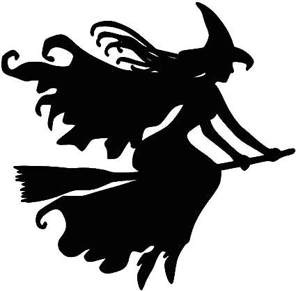 Alsu3luy02ld Hexe Auf Besen Halloween Auto Fahrzeug Reflektierende Aufkleber Dekoration Schwarz Küche Haushalt