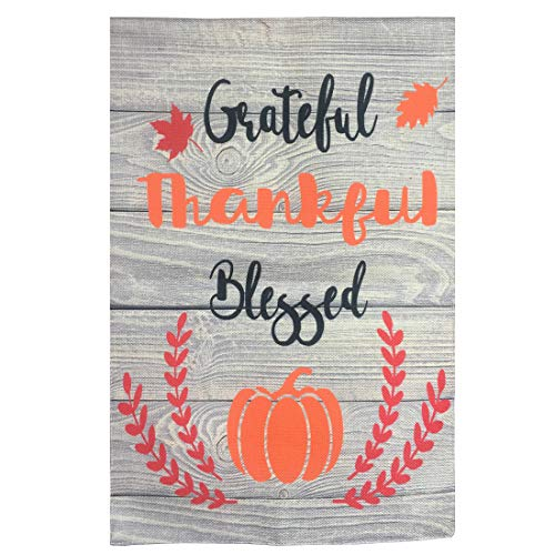 Decoration Fall Yard (Uniwish Grateful Thankful Blessed Garden Flag Double Sided Rustic Wood Shading Sign Happy Fall Y'all Thanksgiving Outdoor Yard Decorations, 12.5
