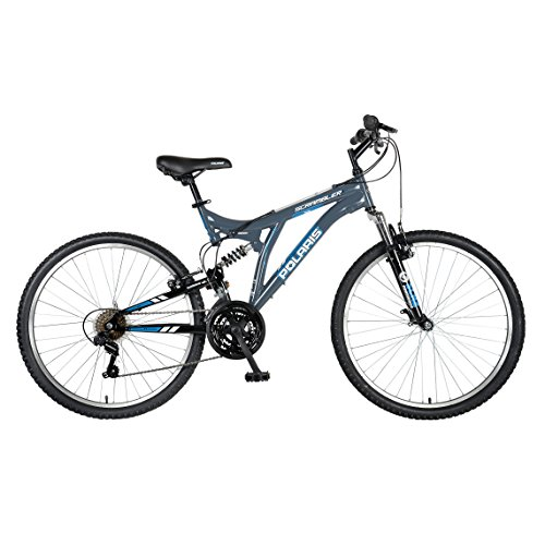 Polaris Scrambler Full Suspension Mountain Bike, 26 inch Wheels, 19.5 inch Frame, Mens Bike, Grey