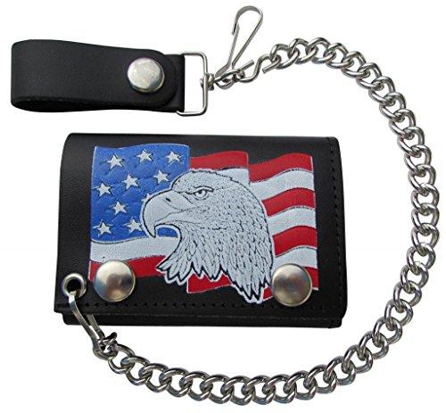 - Mascorro Leather Men's Eagle Head USA Flag Trifold Chain Wallet