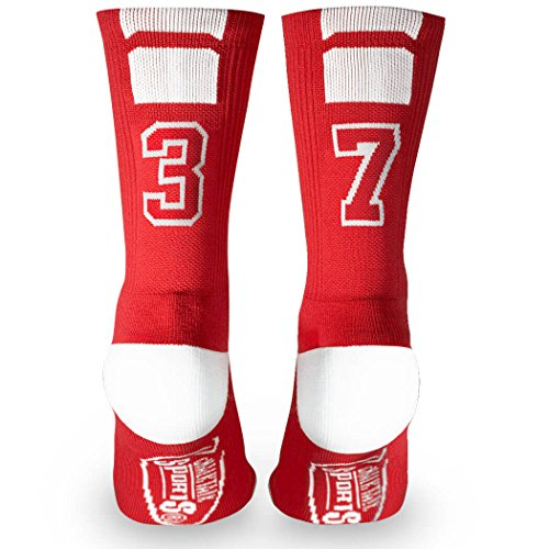 Custom Team Number Crew Socks | Athletic Socks by ChalkTalkSPORTS | Red | 37