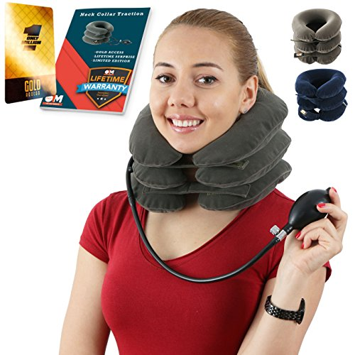 on for Instant Neck Pain Relief | Air Neck Therapy | Adjustable Neck Stretcher Collar Device for Home Traction Spine Alignment (Grey) ()