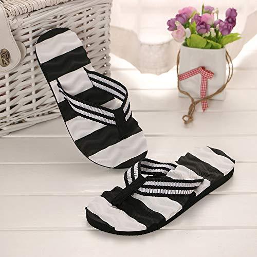ZHRUI Stripe d'été Toe Taille Femmes Violet Plates Beach pour Noir Chaussures 38 coloré Clip EU rFqdcHSwr
