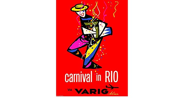 Carnival in Rio Brazil South America Vintage Travel Advertisement Poster