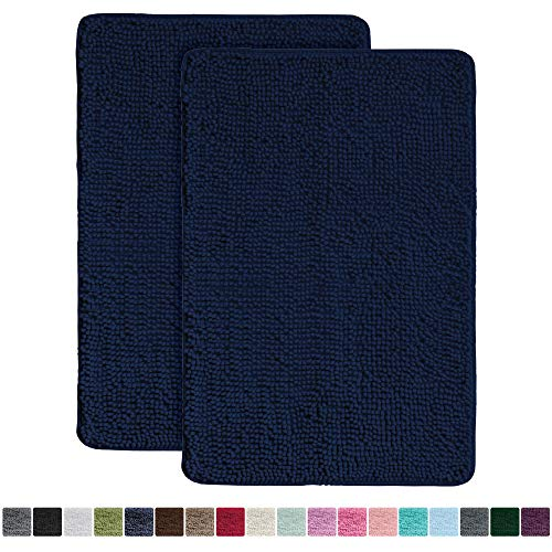 Gorilla Grip Original Luxury Chenille Bathroom Rug Mat 2 Pack (30 x 20), Extra Soft and Absorbent Shaggy Rugs, Machine Wash/Dry, Perfect Plush Carpet Mats for Tub, Shower, and Bath Room (Navy Blue)