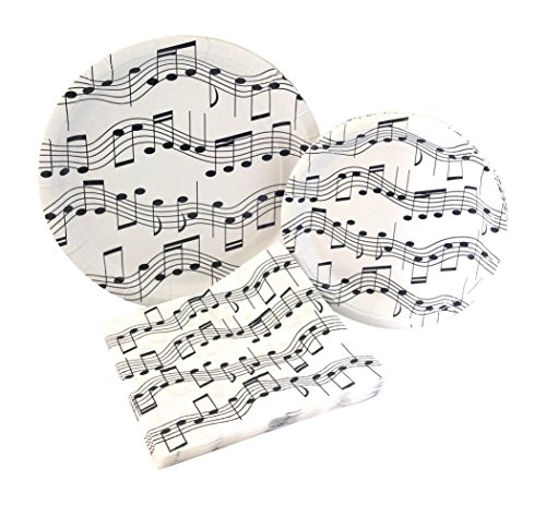 Music Notes Party Supply Pack! Bundle Includes Paper Plates & Napkins for 8 (Music Note Plates)