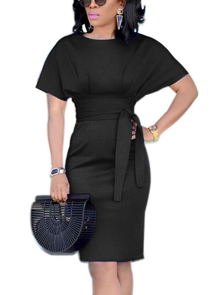 Women's Formal Pencil Dress Business Wear to Work Casual Short Sleeve Dress with Belt Black XXXL