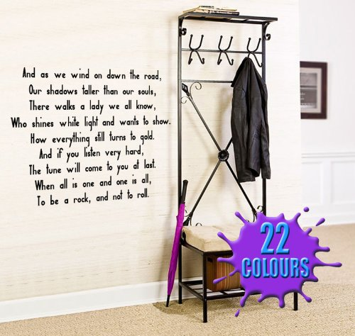 Stairway To Heaven 2 (Led Zeppelin Lyric wall decal sticker quote (Color: Black Size: Large) (Wall Decals Lyrics)