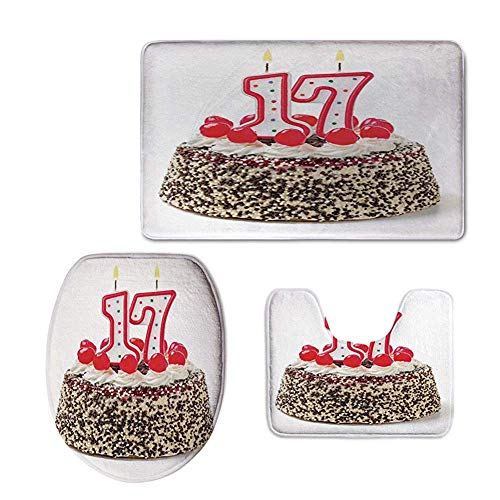 (YGUII Fashion 3D Baseball Printed,Birthday Cake with Cherries and Sprinkles and Candles Photo Art,3 Pcs/Set Bathroom Carpet Toilet Floor Rug Tank Top Toilet Lid Cover for Washroom)