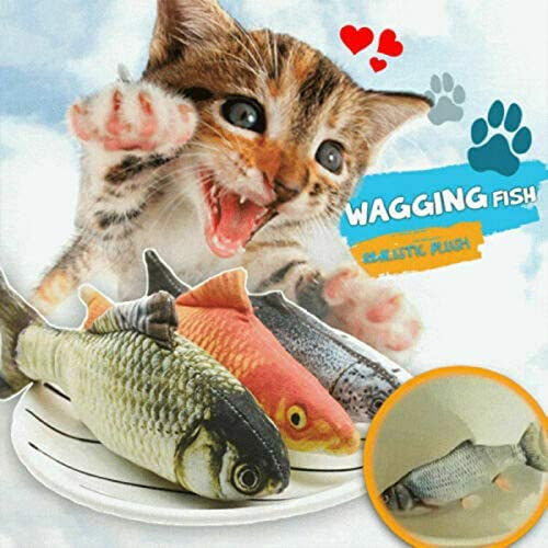 Keepbest Cat Fish Realistic Plush Toy Simulation Catnip Soft Gift for Pet Chewing