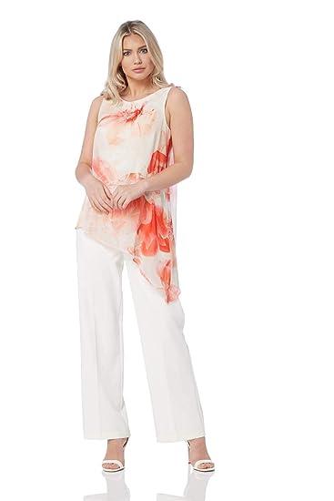 73c63c2eadb0 Roman Originals Women Chiffon Overlay Jumpsuit - Ladies Floral Print Wide  Leg Summer Cruise Party Jumpsuits Holiday Clothes - Ivory White   Amazon.co.uk  ...