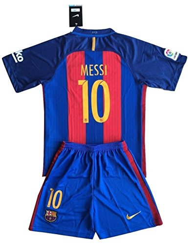 FC Barcelona 2016-2017 Messi #10 Youths Home Soccer Jersey Shirt & Shorts Set (9-10 Years)