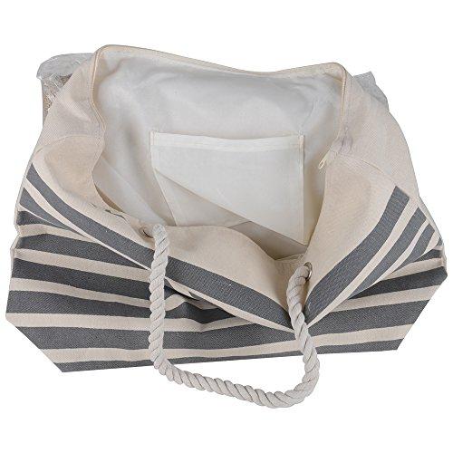 Canvas Heavy Cotton Rope Handles Stripe Zipper Closure Women Premium Straw Beach Tote Bag by BB (Grey) by BB (Image #2)