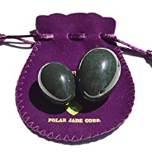Polar Jade 2-PCS real Nephrite Jade Yoni Egg Set for Advanced & Intermediate Users, Consisting of Medium and Small Sizes, Made of 100% Natural and Genuine Nephrite Jade, Manually Polished,Comes with a Packing Pouch and Certificate of Authenticity