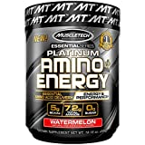 MuscleTech Essential Series Platinum Amino Plus Energy BCAA Powder, Watermelon, 10.15 Ounce, 30...