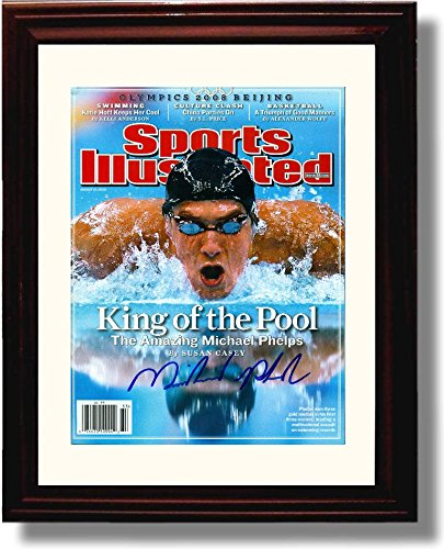 Framed Michael Phelps Autograph Replica Print - King of The Pool 2008 Sports Illustrated - Michael Phelps Olympic Medals