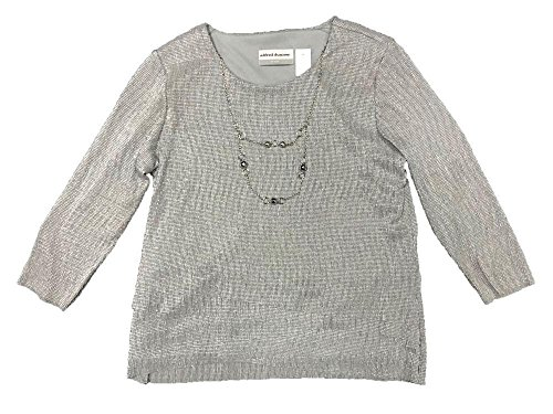 Alfred Dunner Silver Bells Tiered Shimmer Accordian Top Silver PS