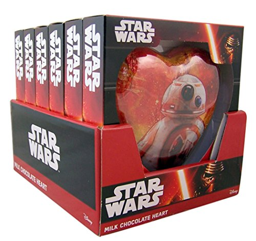Star Wars Darth Vader and BB-8 Character Milk Chocolate Heart Candy, 2.47 oz (Case of 6)