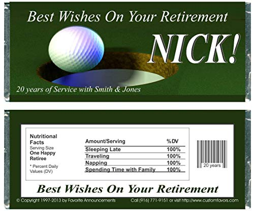 Golf Theme Retirement Candy Bar Wrappers, fits over regular size chocolate bar (set of 12)(W620)