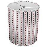 Hardback Linen Drum Cylinder Lamp Shade 8'' x 8'' x 8'' Spider Construction [ Red Heart Love Stripe ]